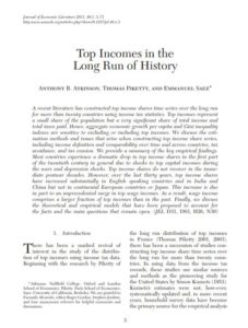 Top Incomes in the Long Run of History by Emmanuel Saez, Thomas Piketty & Tony Atkinson