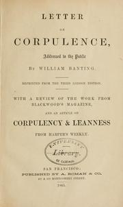 Letter on Corpulence, Addressed to the Public by William Banting